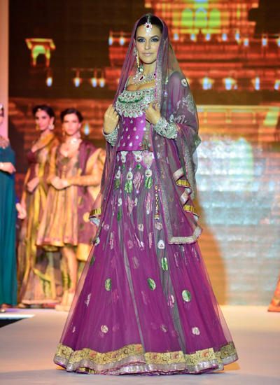 Neha Dhupia Royal Bride Look On Ramp At IIJW 2014 In Mumbai