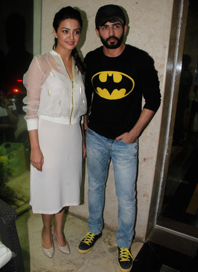 Jay And Surveen Pose Together For The Cameras During Promoting Hate Story 2