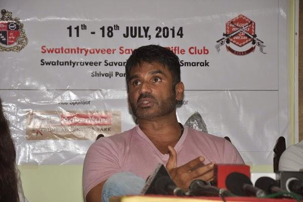 Sunil Shetty Promote His Upcoming Flick Desi Kattey At Mumbai Mayor Cup Shooting Competition 2014