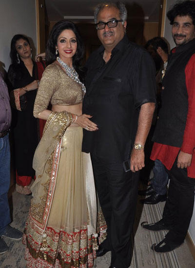Sridevi With Her Hubby Boney Posed On Day 3 At IIJW 2014