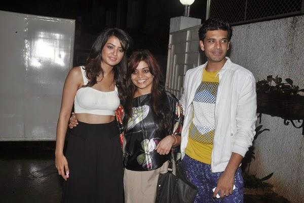Surveen And Karan Pose During The Hate Story 2 Special Screening Event