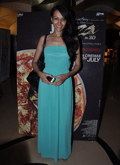 Dipannita Sharma Strapless Light Sky Colour Gown During Special Screening Of Pizza 3D Movie