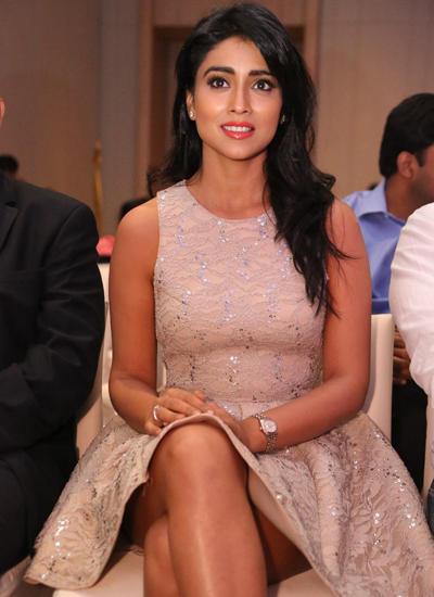 Shriya Attended The SIIMA Awards Curtain Raiser Press Meet Wearing A Lace Full-Skirted Dress