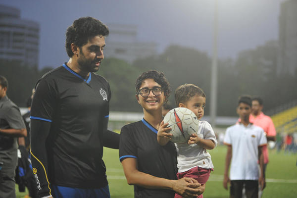 Abhishek And Kiran With Her Son Azad On The Field At Ira Khan Organised Charity Football Match 2014