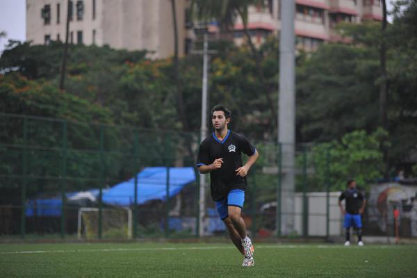 Armaan Jain Running Pose During Ira Khan Organised Charity Football Match 2014