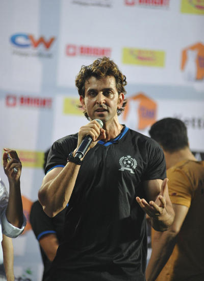 Hrithik Roshan Addressing The Media After Victory During Ira Khan Organised Charity Football Match 2014