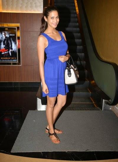 Smiling Prachi Mishra Nice Look Blue Attire During Pizza 3D Special Screening Party Host By Parvathy Omanakuttan
