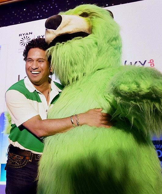 Sachin Tendulkar Posed With A Mascot During The Launch Of Kaspersky Kids
