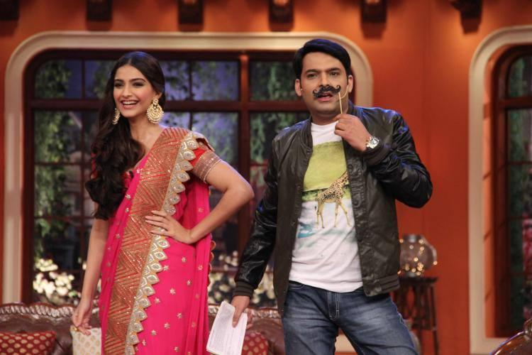 Kapil Fun Still With Sonam During The Khoobsurat Promotion On CNWK Show