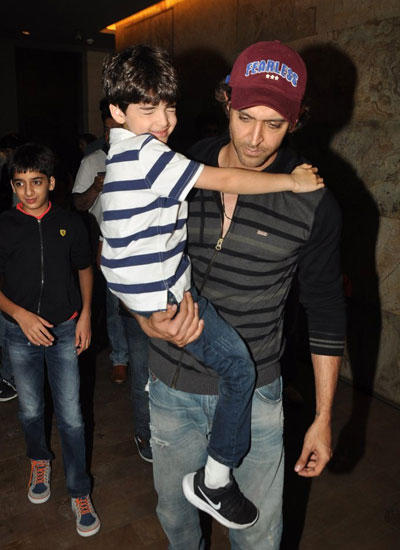 Hrithik Roshan With His Kids Snapped At Lightbox In Mumbai
