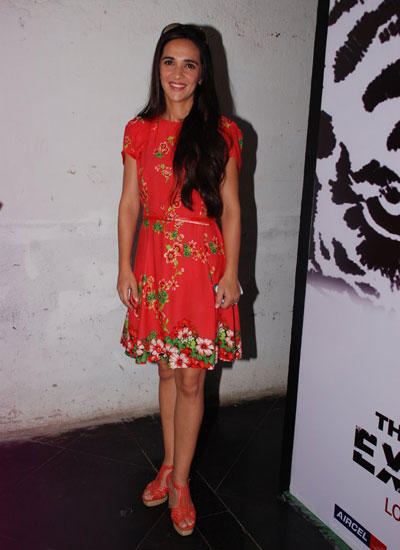 Tara Sharma Nice Look In Floral Print Dress During NDTV Save Our Tigers Campaign