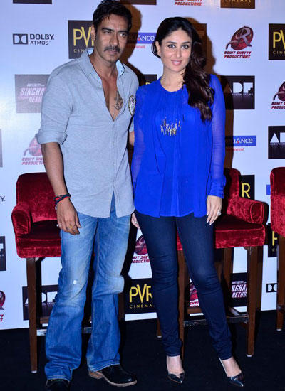 Ajay Devgan And Kareena Kapoor During Singham Returns Merchandise Launch