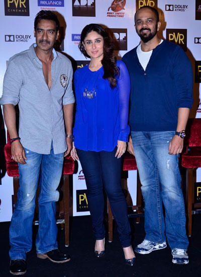 Ajay,Kareena And Rohit Clicked During The Merchandise Launch Of The Upcoming Movie Singham Returns