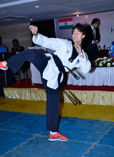 Tiger Shroff In Action Pose At World Taekwondo Headquarters