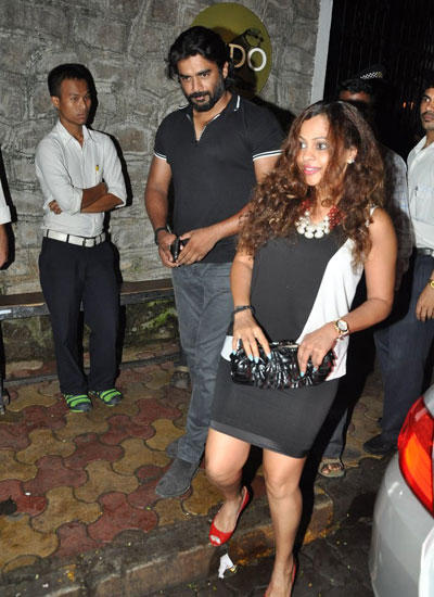 Madhavan And His Wife Sarita Catched By Photographers At The Outside Of Nido Restaurant