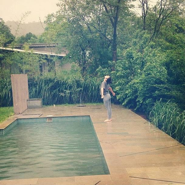 Alia Enjoying The Rain And Posted A Photograph Saying It's Raining It's Pouring