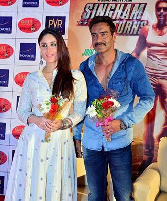 Ajay And Kareena Welcome Pic At Press Conference In Ahmedabad