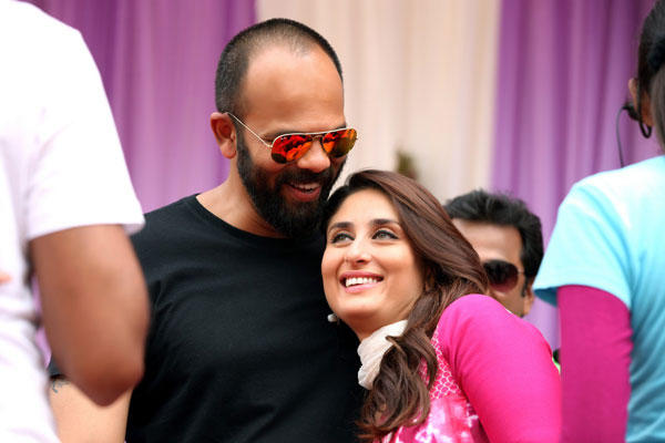 Rohit Shetty And Kareena Shooting Sets Memorable Still