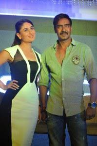 Ajay And Kareena Intract The Media Duirng Titan Announces Police Watches Special Edition Range With Singham Returns