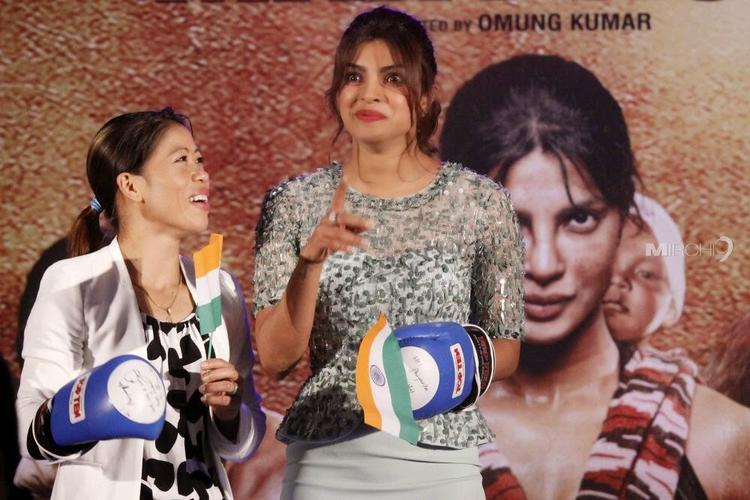Priyanka And Mary Kom Fun Still During The Audio Release Of Mary Kom