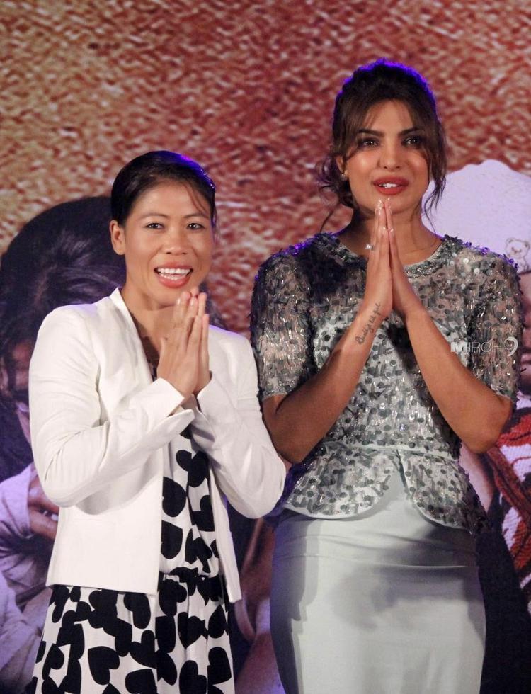 Priyanka Chopra With Mary Kom At The Music Launch Of The Movie