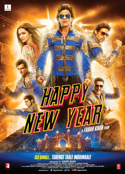 Happy New Year Movie Poster Lead Stars On Rock Pose