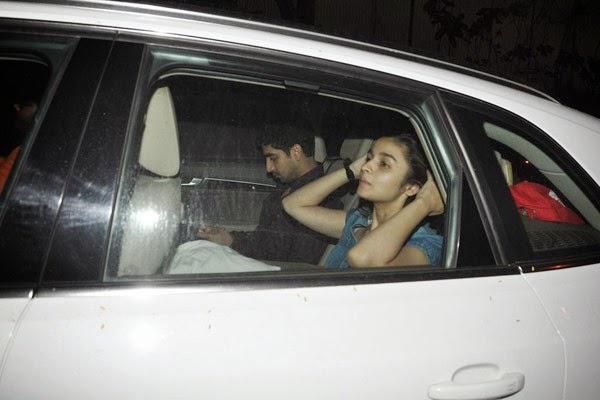 Ayan Mukerji And Alia Bhatt Spotted Inside The Car Outside Of Karans House In Mumbai
