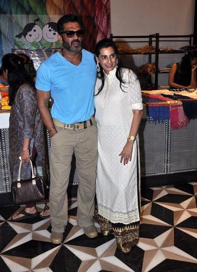 Sunil Shetty With Wife Mana Shetty Attend Araaish Exhibition Four Season