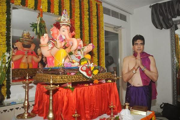 Jeetendra Blessing Pose In Front Of The Deity At His Residence
