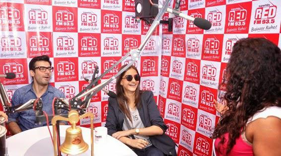 Fawad Afzal Khan And Sonam Kapoor Cool Look During The Promotion Of Khoobsurat At 93.5 Red FM Studio