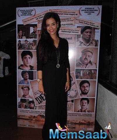 Tia Bajpai In Black Outfit Attend Identity Card Movie Post Release Bash
