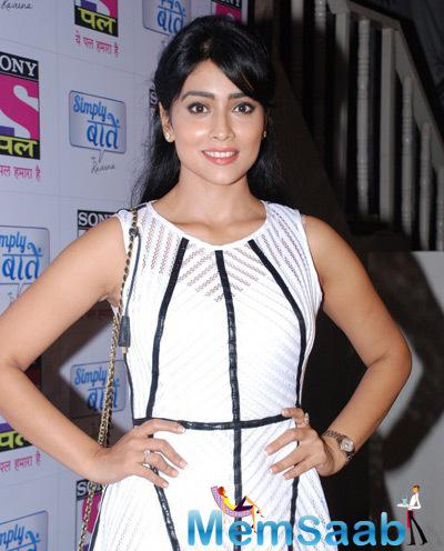 Shriya Saran Dazzling Face Look During The Simply Baatein Show Bash Of Sony Pal Channel