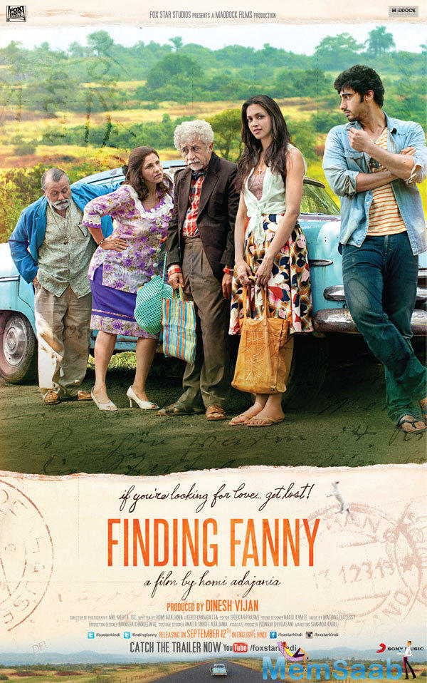 Pankaj,Dimple,Naseeruddin,Deepika And Arjun Posed Still In Finding Fanny Movie Poster