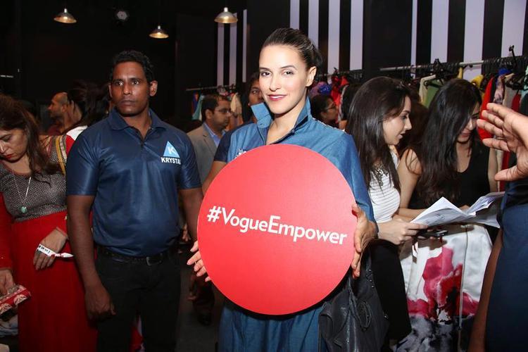 Neha Dhupia At The Vogue Fashion's Night Out 2014 At The Palladium Hotel In Mumbai