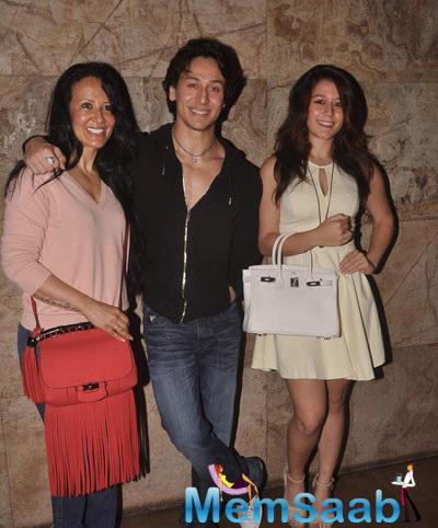 Tiger Shroff Mother Ayesha Shroff And Sister Krishna Shroff Were Also Spotted  This Shutterbugs