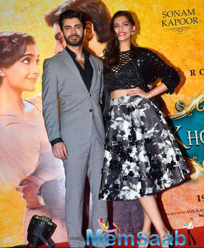 Fawad Khan And Sonam Kapoor Posed For Lenses At Khoobsurat Movie Music Launch Event