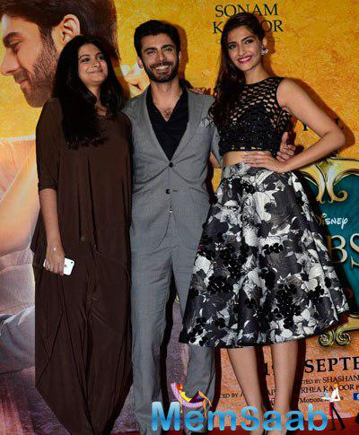 Rhea Kapoor,Fawad Khan And Sonam Kapoor Clicked During The Music Launch Of Upcoming Movie Khoobsurat