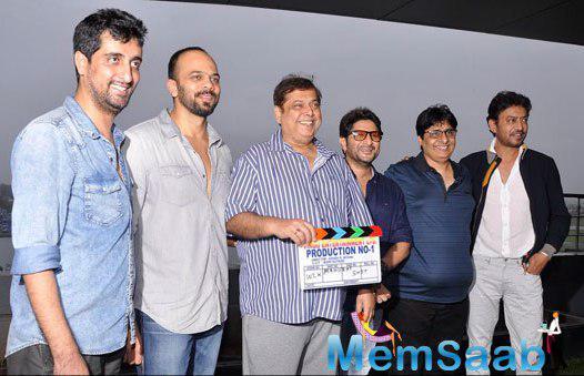 Ashish,Rohit,David,Arshad,Vashu And Irrfan Clicked During The Mahurat Of Welcome 2 Karachi Movie