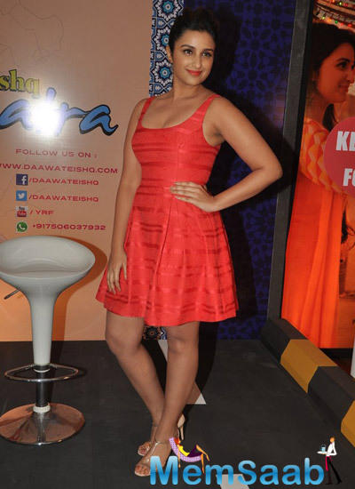 Parineeti Chopra Red Dress Sizzling Look During The Promotion Of Daawat-E-Ishq Movie