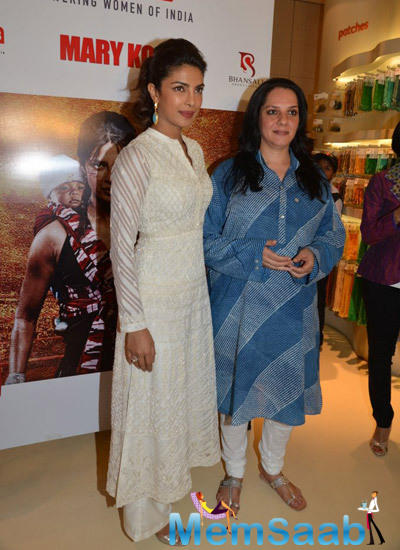 Priyanka And Chhaya Pose During The Event By Usha International At The Hab In Mumbai