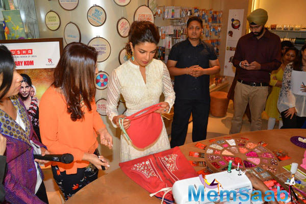 Priyanka Interacted With Girls Who Are A Part Of Usha's Sewing School Campaign