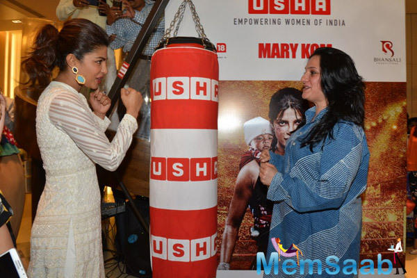 Priyanka Promotes Mary Kom At An Event By Usha International At The Hab In Mumbai