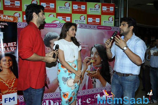 Aditya Roy Kapur And Parineeti Chopra At A Radio Studio To Promote Their Upcoming Flick Daawat-E-Ishq