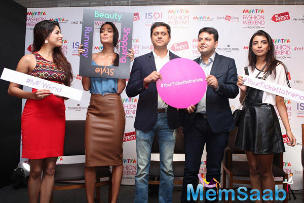 Lisa Haydon Attend The Press Meet Of Myntra Fashion Weekend India 2014