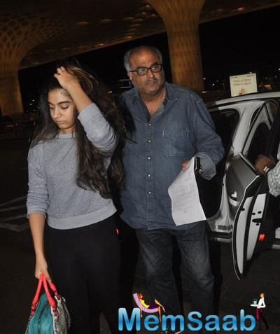 Boney Kapoor Accompanied By Daughter Khushi At Mumbai Airport
