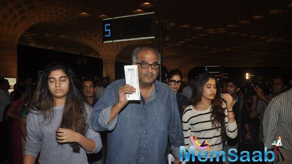 Sridevi And Boney Kapoor Seen With Their Daughters At Mumbai International Airport