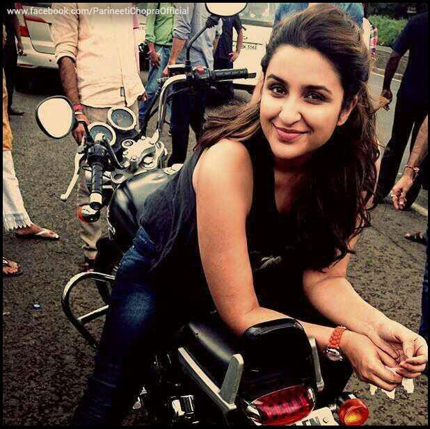 Parineeti Chopra On A Bike Lovely Pose At The Promotion Of Daawat- E Ishq On A Road Ride