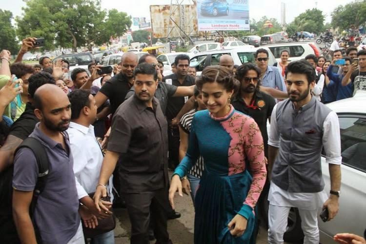 Sonam Kapoor Arrives During The Promotion Of Her Upcoming Khoobsurat At Ahmedabad