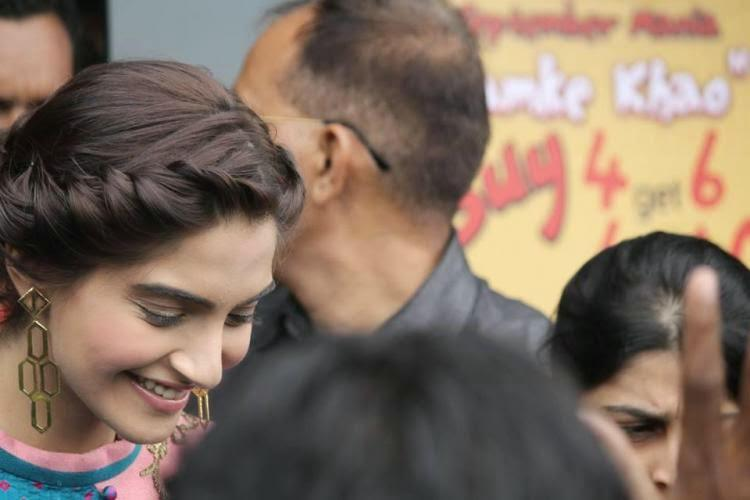 Sonam Kapoor Flashes Smile During The Promotion Of Khoobsurat In Ahmedabad