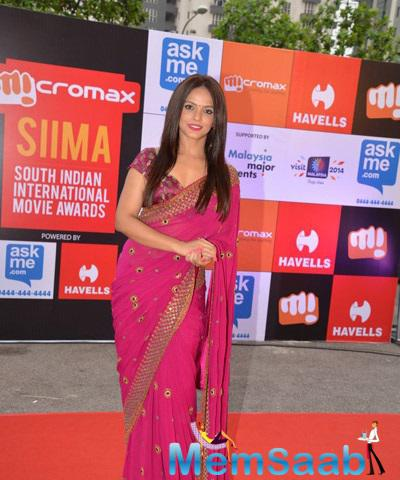 Neetu Chandra Spotted On Red Carpet At Day 1 Of SIIMA Awards 2014